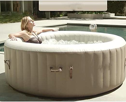 ZY Piscina de Burbujas de SPA Redonda, Terapia de Burbujas para Varias Personas, Agua Caliente, bañera de hidromasaje, SPA, baño de Ocio, Piscina,Beige: Amazon.es: Hogar