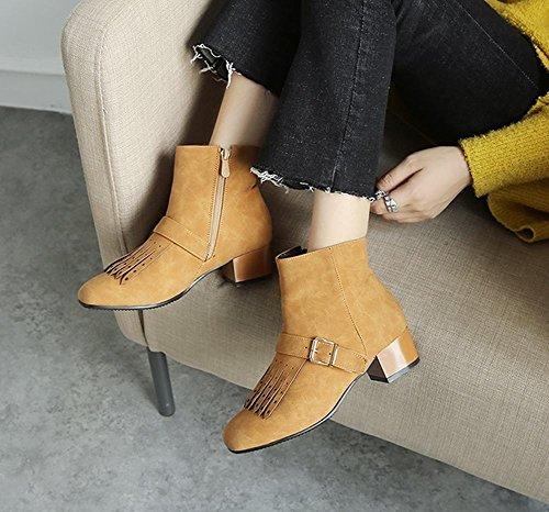 Chunky Womens Boots Retro Yellow Latasa Dark Monk Ankle Strap Heel I6xPq