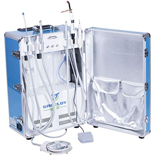 Control 206 Unit (OUBO Brand Greeloy GU-206 Portable Unit Built-in with 3-Way Syringe, Saliva Ejector, LED Light Cure Lamp High and Low Speed Air Turbine Tube 600W 4 Hole)