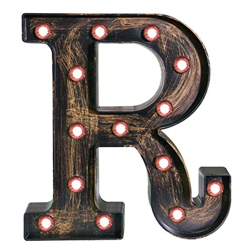 Pooqla Vintage Light Up Marquee Letters with Lights - Illuminated Industrial Style Lighted Alphabet Letter Signs - Coffee Bar Apartment Bedroom Wall Home Initials Decor - R -