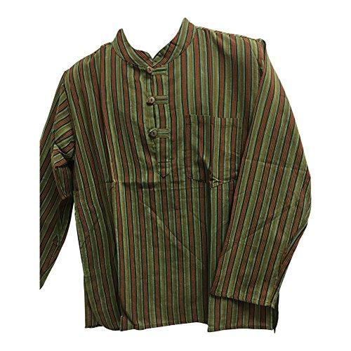 5a04329353c Bohemian Yoga Hippie Cotton Mandarin Collar Long Sleeve Shirt Kurta Tunic  Suresh (Large, 13