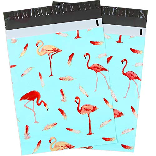 10x13 100-Pack Flamingo Designer Poly Mailers, Ohuhu Christmas Shipping Envelope Mailer Bags Sealed Christmas Holiday Gifts Boutique Custom Bag Xmas Mailer Packages with Self Adhesive Strip, Blue