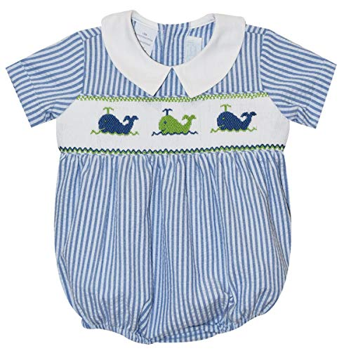 - BETTI TERRELL Whales Smocked Blue Stripe Boys Bubble Short Sleeve