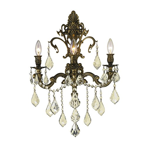 (Worldwide Lighting Versailles Collection 3 Light Antique Bronze Finish & Golden Teak Crystal Wall Sconce 17