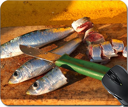 MSD Mousepad Mouse Pads/Mat design 34042408 Cutting up fresh caught sardine Fish for fishing bait (Grande Knife Fish)