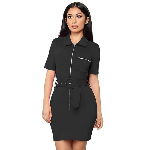 89f612caaa Womens Zipper Dress Holiday Sexy Cardigan Lapel Belt Decor Casual Bodycon  Dresses (Black