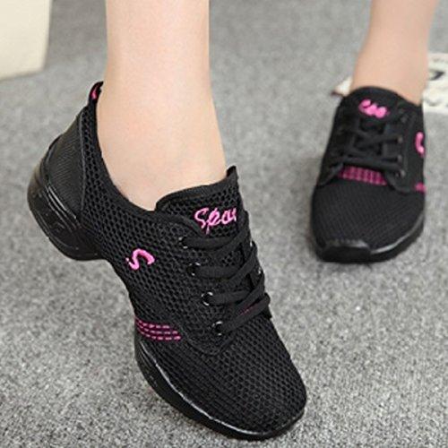 Rosa Zapatillas Movimiento Aptitud para la Blanda Moderna Suela CHNHIRA de Deportivos Danza Jazz Negro de Elegante Baile de Mujeres Zapatos Zapatos rwAqOrR