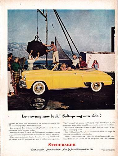 - 1948 Studebaker Yellow Convertible Land Cruiser Original 13.5 * 10.5 Magazine Ad