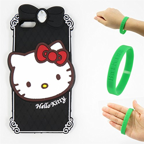 5S Case,iPhone 5 Case,iPhone 5S Kitty Silicone Case,Bat King Fashion Cartoon Hello Kitty with Diamond 3D Cute Silicon Gel Rubber Back Cover Case Skin for Apple iPhone 5/5S/5C/SE(Black - Kitty Case 5s Hello