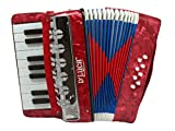 D\'Luca G104-RD-PL Kids Piano Accordion 17 Keys 8 Bass, Red Perloid