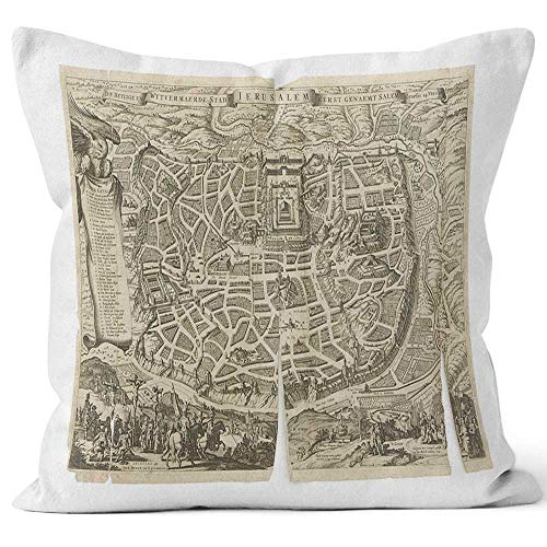 Nine City Old Dutch Antique Map Jerusalem Throw Pillow Cover,HD Printing for Sofa Couch Car Bedroom Living Room Decor,40