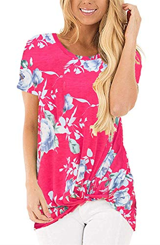 onlypuff Floral Shirts for Women Knot Short Sleeve Twist Tops Rose Casual Tunics Small