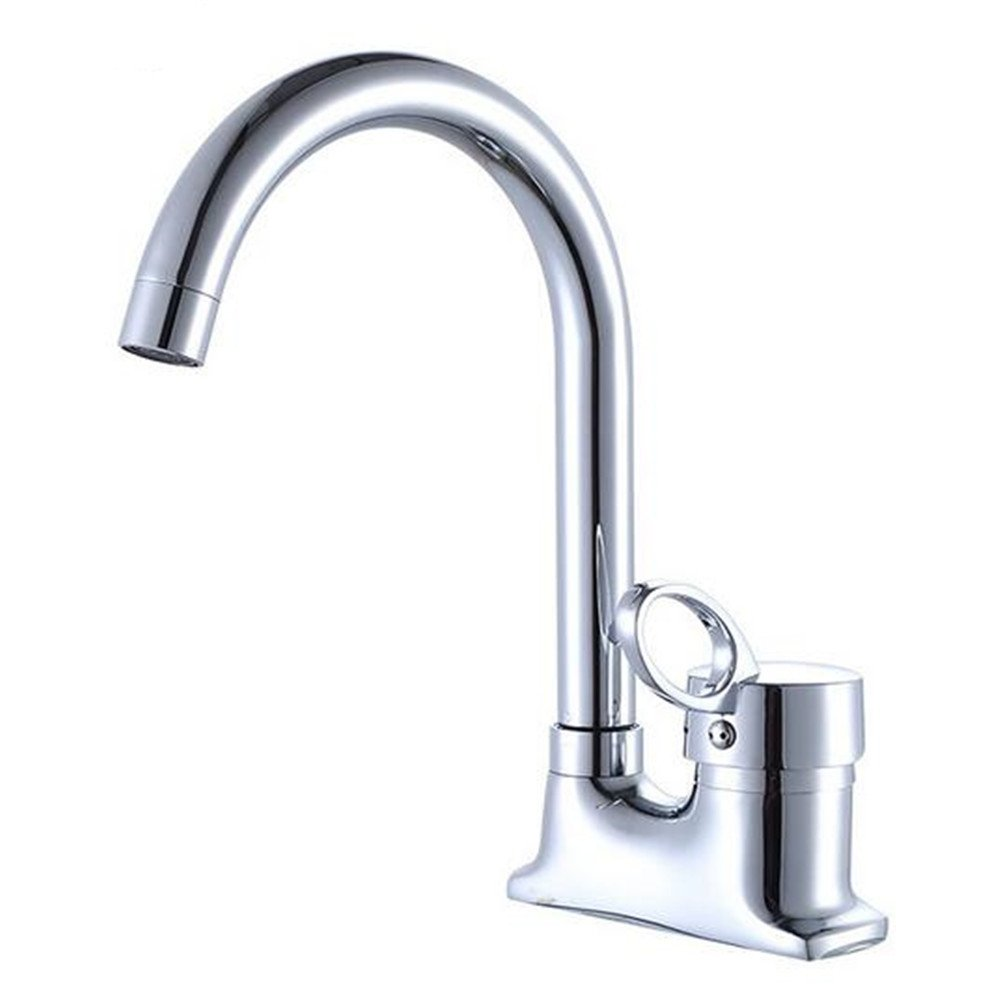 LANGUANGLIN Copper Plate Two Kitchen Faucet/Double Hole Sink Basin Mixing Valve Taps/Kitchen Hot and Cold Water Faucet