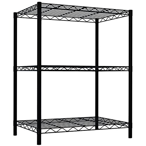 Home Basics Wire Shelving Storage Unit (3 Tier, Black) by Home Basics