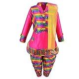 Aarika Girl's Self Design Cotton Silk Ethnic Kurti, Patiala and Dupatta Set