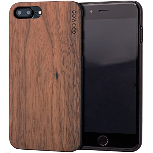 Walnut Wood Case - iPhone 7 Plus and 8 Plus Wood Case | Real Natural Walnut Backside and Durable Hard Polycarbonate Shockproof Bumper and Shock Absorbing Rubber Coating