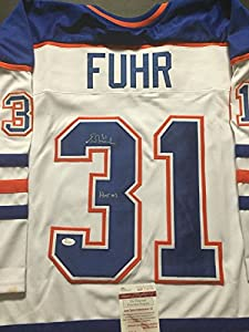 "Autographed/Signed Grant Fuhr ""HOF 03"" Edmonton Oilers White Hockey Jersey JSA COA"