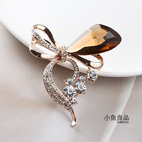 (Big fashion Austrian crystal bow brooch rose gold diamond white diamond brooch pin coat with jewelry)