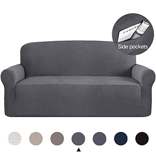 Marchtex High Stretch Sofa Cover/Couch Covers/Lounge Cover, 1-Piece Stretch Slipcover Spandex Fabric Soft and Durable for Sofa No Slipping Stay in Place Cover (Sofa, Charcaol Gray)