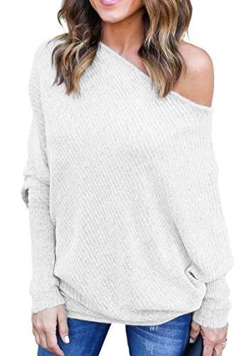 Women's Sexy Off Shoulder Batwing Sleeve Baggy Loose Fit Oversized Pullover Sweater Slash Neck Tops Blouse Knit Jumper White S 4 6
