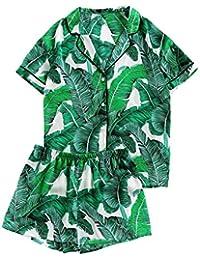 Women's Notch Collar Shorts Loose Sleepwear Two Piece...