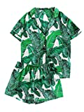 Floerns Women's Notch Collar Shorts Loose Sleepwear Two Piece Pajama Set Green M