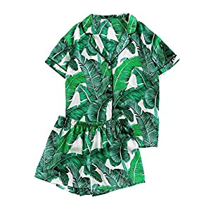 Floerns Women's Notch Collar Palm Leaf Print Sleepwear Two Piece Pajama Set