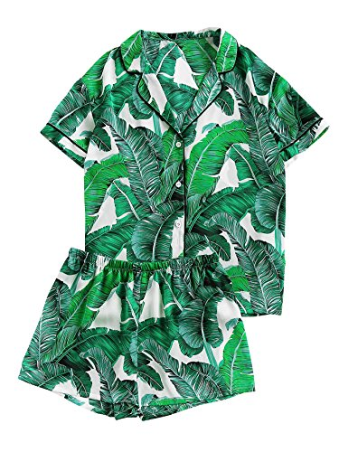 Floerns Women's Notch Collar Palm Leaf Print Sleepwear Two Piece Pajama Set Green -