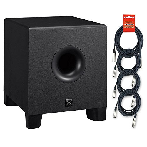 Yamaha HS8S 8 inch Powered Studio Subwoofer w/ 4 Strukture PORO20M7 20ft XLR to XLR by Yamaha