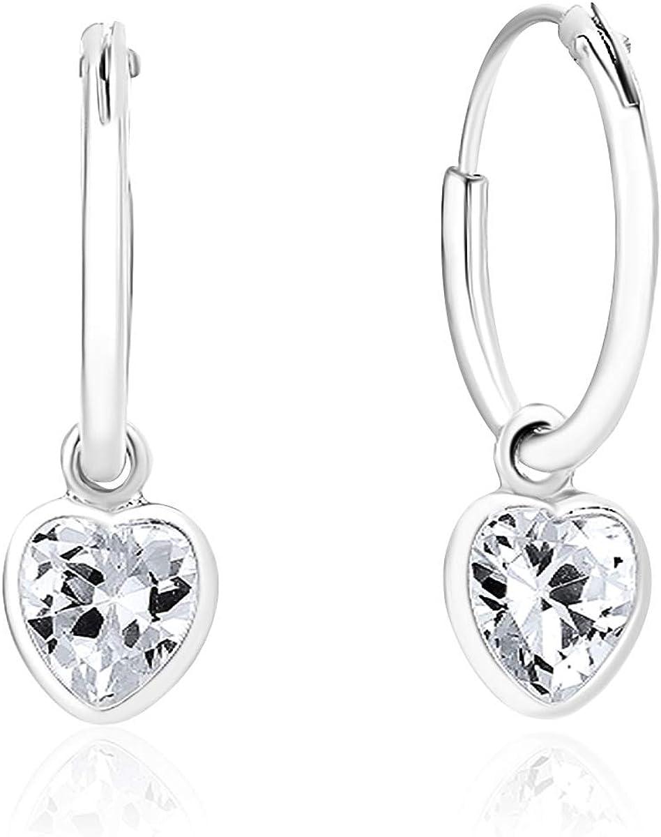 DTP Silver® – Pendientes de Aro Pequeños - Plata 925 - Corazón de cristal Swarovski® - Diámetro 12 mm - Colores diferentes