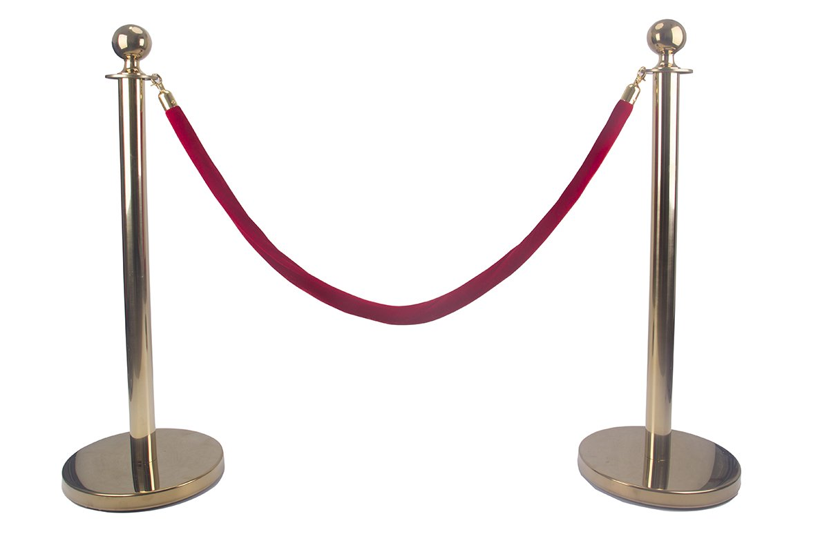Comie Ball Top Stainless Steel Retractable Stanchion Posts with a Red Velvet Rope Gold by Comie