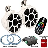 Wet Sounds REV10W-SC Swivel Clamp Tower Speakers with RGB LED Speaker Rings & LED Controller - White