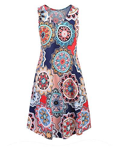 (Ivicoer Summer Women Plus Size Floral Print V Neck Sleeveless Hawaiian Tank Tunic Dress with Pockets 4XL-Orange)