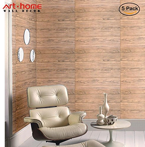 Cheap  Arthome 5 Pack Brown Wood Decorative Foam Wall Panels Peel and Stick..