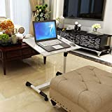 Foldable Laptop Desk, Overbed Table with Wheels Computer Desk-Bedside Computer Desk Simple Bed Desk Simple Adjustable Moveable Sofa Table with Two Exhaust Fans/Heat Dissipation White