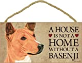 (SJT30104) A house is not a home without a Basenji wood sign plaque 5