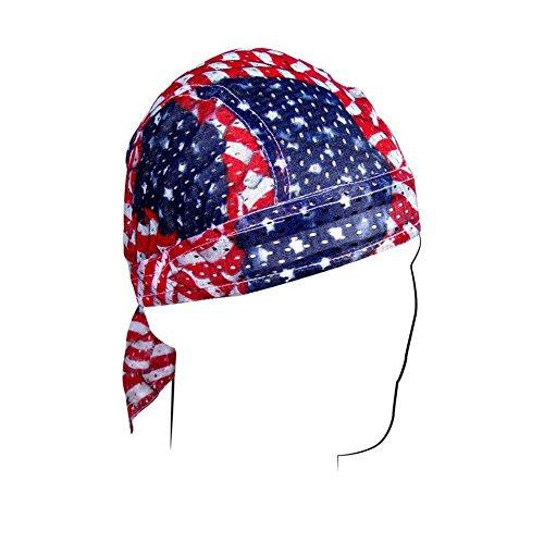 Wavy American Flag Polyester Mesh Vented Flydanna Bandanna