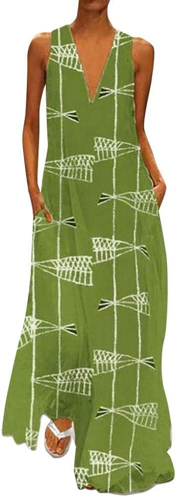 AIFGR Falda de señora Damas Diario Ocio Cuello en v Sin Mangas Impreso Vestidos de Verano Fiesta de Noche Vestido Maxi de Playa(Verde, M): Amazon.es: Ropa y accesorios