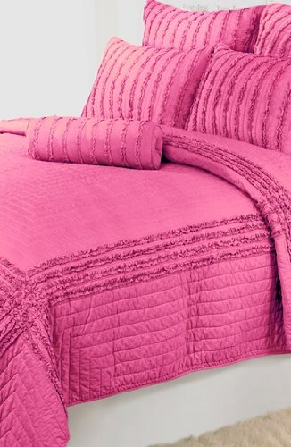 Dena Home Cloud Blossom Reversible Quilt, Twin, Pink