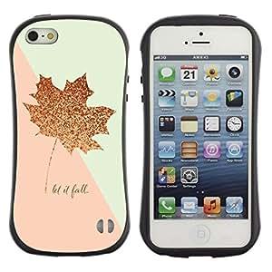 Fuerte Suave TPU GEL Caso Carcasa de Protección Funda para Apple Iphone 5 / 5S / Business Style Pink Gold Maple Leaf Autumn Fall Glitter