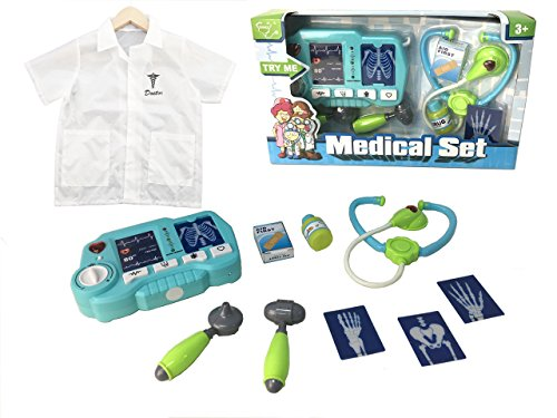 Doctor's Medical Kit Play Set Combo for Kids - Light Up X-Ray Machine + Lab Coat