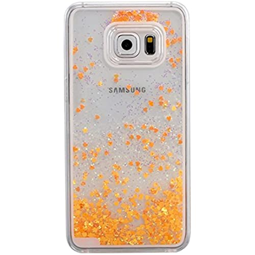 IKASEFU Hard Clear Case for Samsung Galaxy S7 Edge,Novelty Creative[Glitter Flowing Hearts]Clear Liquid Floating Sales