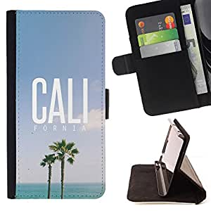 California Palm Trees Summer Sky Sun - Painting Art Smile Face Style Design PU Leather Flip Stand Case Cover FOR Samsung Galaxy S4 IV I9500 @ The Smurfs