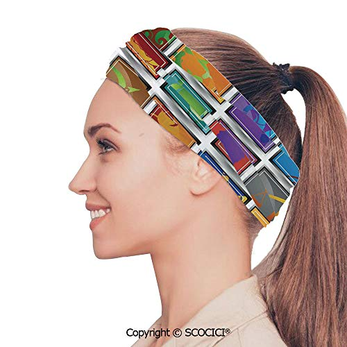 (SCOCICI Stretch Soft and Comfortable W9.4xL18.9in Headscarf Headbands Zodiac Sign Icon Frame Astrology Elements Character Forecast with Stars Graphic Home,Multi Perfect for Running, Working Out, YOG)