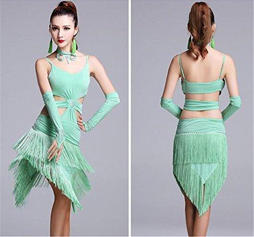 Danse stage Latine Show tassel Green Dance Dress Femme Tenue Clothing Peiwen qF5nwxZfx
