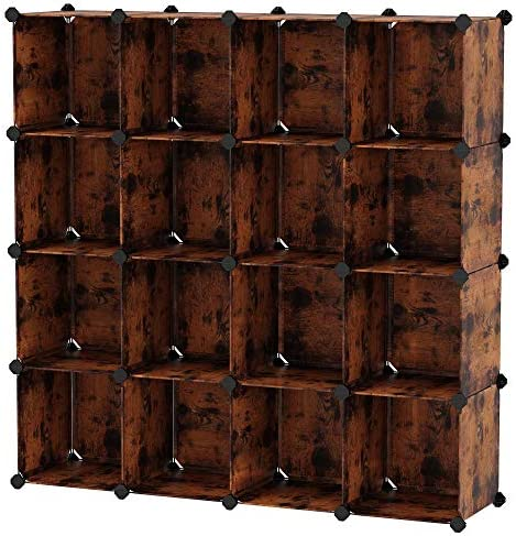 SONGMICS 16-Cube Storage Unit, Shoe Rack, DIY Shelving System, Stackable Cubes, PP Plastic Shelf, Wardrobe, Closet Divider, for Bedroom, Office, Rustic Brown ULPC442A01