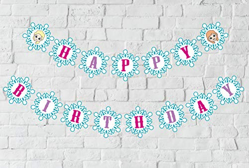 Snowflake Birthday Banner, Winter Wonderland Snow Princess Themed Birthday Sign Party Decorations]()