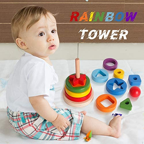 Natural Toys Organic Toy Toddlers Building Montessori Learning Rainbow Toys Wooden Hanoi Tower Natural Wooden Stacking Children/'s