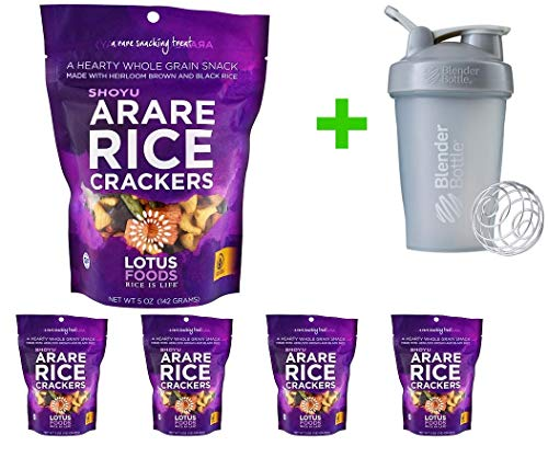 - Lotus Foods, Arare Rice Crackers, Shoyu, 5 oz (142g) (5 PACKS) + Blender Bottle 20 oz (Assorted Bottle)