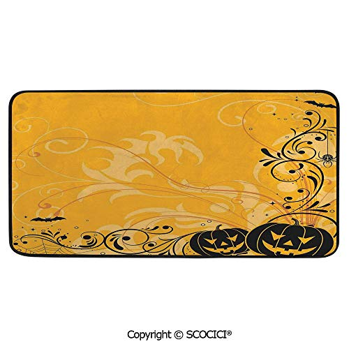 Soft Long Rug Rectangular Area mat for Bedroom Baby Room Decor Round Playhouse Carpet,Halloween Decorations,Carved Pumpkins with Floral Patterns Bats and,39